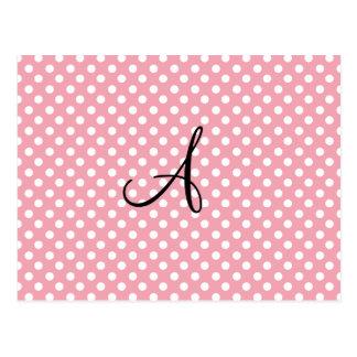 Polka dots pink white monogram post cards