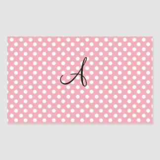Polka dots pink white monogram rectangular stickers