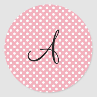 Polka dots pink white monogram stickers