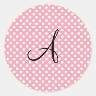 Polka dots pink white monogram stickers