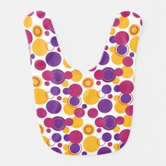 Polka Dots - Pink Yellow Purple - Baby Bib