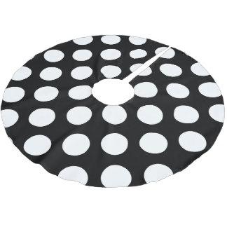 Polka Dots, Polka Dotted Background - White Black Brushed Polyester Tree Skirt