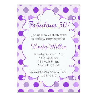 Polka Dots Purple Adult Birthday Invitation