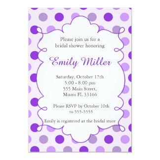 Polka Dots Purple Bridal Shower Party Invitation