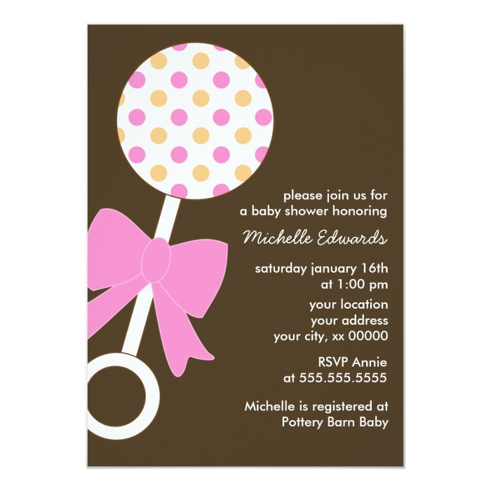 Baby Showers On Saturday Or Sunday ~ Polka dots rattle baby shower card zazzle