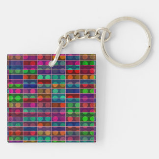 Polka dots rectangles abstract design square acrylic keychain