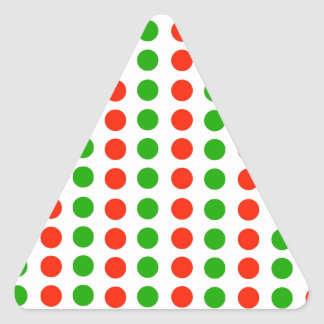 Polka dots Red and green Triangle Sticker