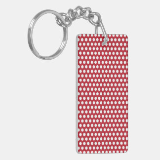 Polka dots red and white spots pattern design keychain