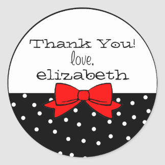 Polka Dots Red Bow Thank You Classic Round Sticker