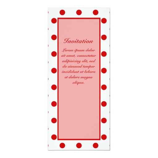 Polka Dots Red + Custom Color 4x9.25 Paper Invitation Card