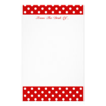 Polka Dots Red   Custom Color Stationery