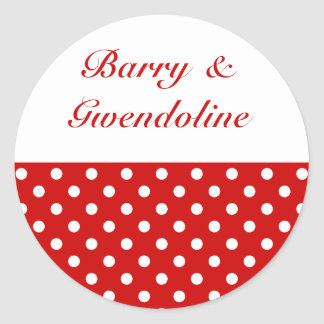Polka Dots Red + Custom Color Classic Round Sticker