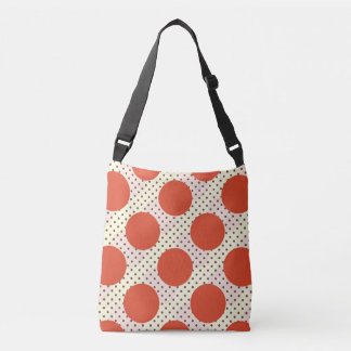 Polka dots red fury divine pink autumn brown cream crossbody bag