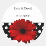 polka dots red gerbera envelope seals sticker
