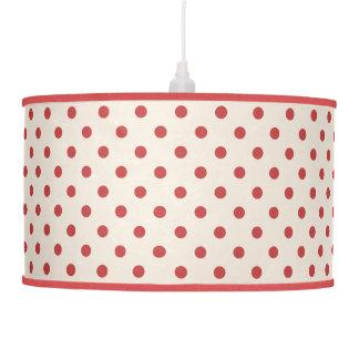 Polka dots red on cosmic latte hanging pendant lamp