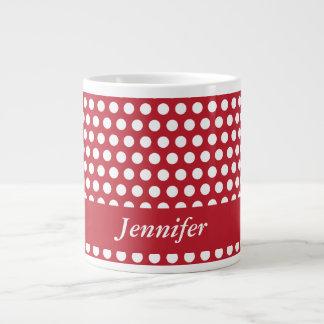 Polka dots red & white custom girls name jumbo mug