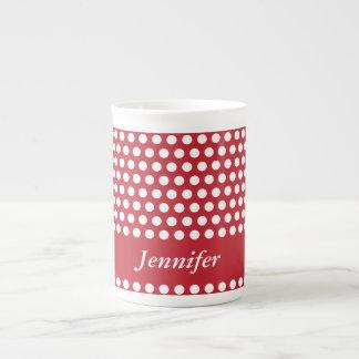 Polka dots red & white girls name bone china mug