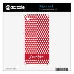 Polka dots red & white girls name iphone 4 skin
