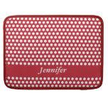 Polka dots red & white girls name macbook sleeve sleeve for MacBook pro