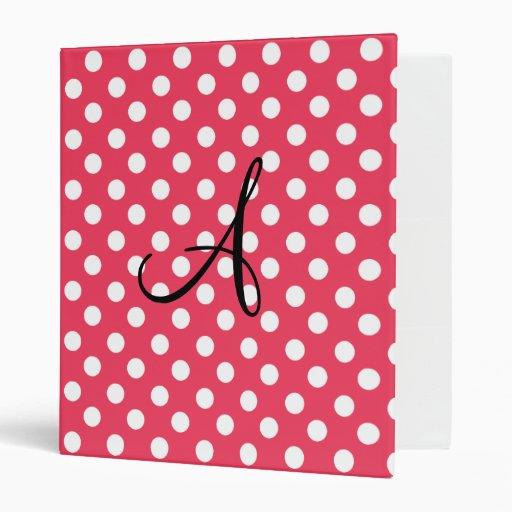Polka dots red white monogram 3 ring binders