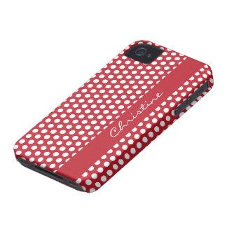 Polka dots red white retro custom girls name, gift iPhone 4 cover
