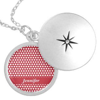 Polka dots red white retro custom girls name, gift round locket necklace