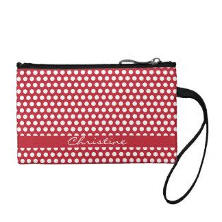 Polka dots red white retro spots custom girls name coin wallets