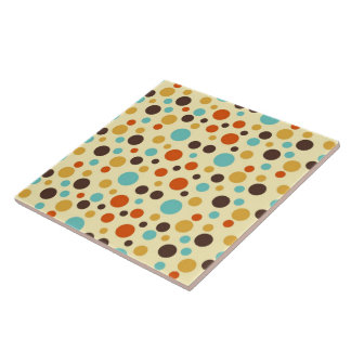 Polka Dots Retro Colors Blue Yellow Red Ceramic Tile