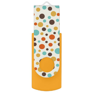 Polka Dots Retro Colors Blue Yellow Red Flash Drive