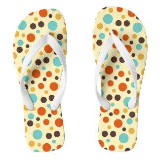 Polka Dots Retro Colors Blue Yellow Red Flip Flops