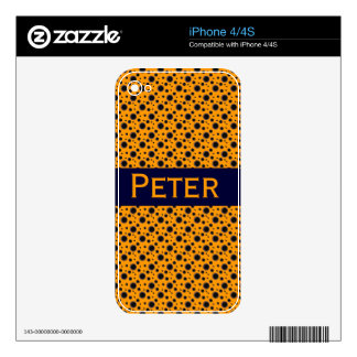Polka Dots Retro Personalized Custom Name Skin For iPhone 4