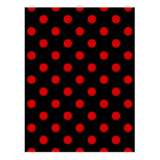 Polka Dots - Rosso Corsa on Black Postcard