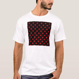 Polka Dots - Rosso Corsa on Black T-Shirt