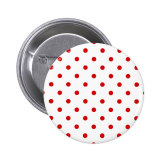 Polka Dots - Rosso Corsa on White 2 Inch Round Button