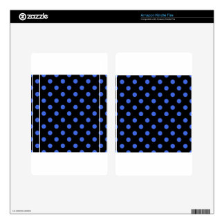 Polka Dots - Royal Blue on Black Kindle Fire Decal