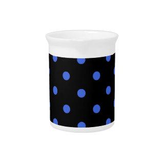 Polka Dots - Royal Blue on Black Beverage Pitcher