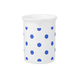 Polka Dots - Royal Blue on White Drink Pitcher