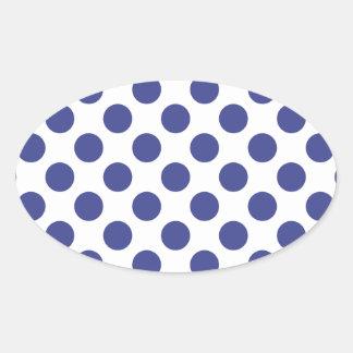 Polka Dots Royal Blue Oval Sticker