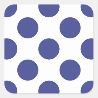 Polka Dots Royal Blue Square Sticker