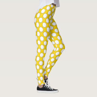 Polka Dots seamless pattern white / black contour Leggings