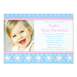 Polka Dots Snowflakes Winter Onederland Birthday 5x7 Paper Invitation Card