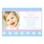 Polka Dots Snowflakes Winter Onederland Birthday Personalized Invites