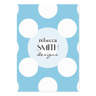 Polka Dots, Spots (Dotted Pattern) - Blue White Large Business Card