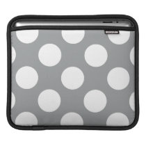 Polka Dots, Spots (Dotted Pattern) - Gray White iPad Sleeve