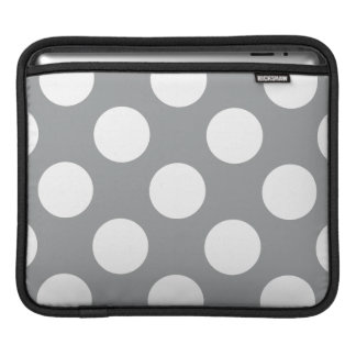 Polka Dots Spots Dotted Pattern - Gray White Sleeve For iPads