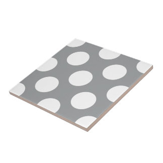 Polka Dots, Spots (Dotted Pattern) - Gray White Small Square Tile