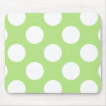 Polka Dots, Spots (Dotted Pattern) - Green White Mouse Pad