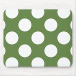 Polka Dots, Spots (Dotted Pattern) - Green White Mousepads