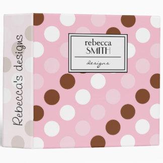 Polka Dots, Spots (Dotted Pattern) - Pink Brown 3 Ring Binder