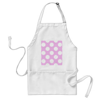 Polka Dots, Spots (Dotted Pattern) - Pink White Adult Apron